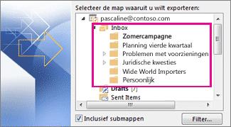 Selecteer de map of account en eventueel inclusief submappen